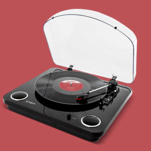 The Conversion Turntable With Stereo Speakers lets you listen to your favorites while included softwares converts songs to MP3s.