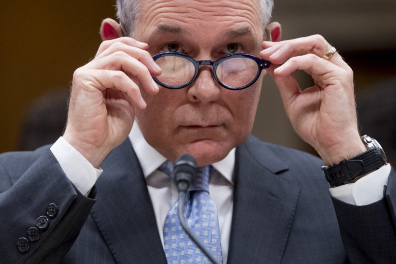 Environmental Protection Agency Administrator Scott Pruitt appears before a Senate Appropriations subcommittee on budget on Capitol Hill in Washington, Wednesday, May 16, 2018. Pruitt goes before a Senate panel Wednesday as he faces a growing number of federal ethics investigations over his lavish spending on travel and security. (AP Photo/Andrew Harnik)
