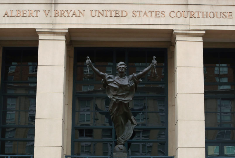 ALEXANDRIA, VA - JULY 23:  The Albert V. Bryan United States Courthouse where the trial of USA vs. Manafort will start on July 25th, on July 23, 2018 in Alexandria, Virginia.  (Photo by Mark Wilson/Getty Images)