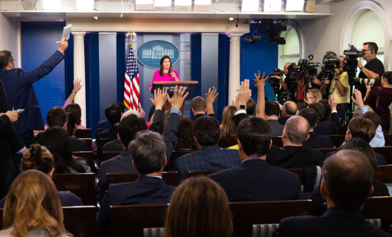 WASHINGTON, DC, UNITED STATES - 2018/07/23: Press briefing by White House Press Secretary Sarah Sanders (aka Sarah Huckabee Sanders) in the White House Press Briefing Room in the White House in Washington, DC. (Photo by Michael Brochstein/SOPA Images/LightRocket via Getty Images)
