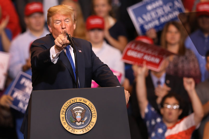 WILKES BARRE, PA - AUGUST 02: President Donald J. Trump singles out the media during his rally on August 2, 2018 at the Mohegan Sun Arena at Casey Plaza in Wilkes Barre, Pennsylvania. This is Trump's second rally this week; the same week his former campaign chairman Paul Manafort started his trial that stemmed from special counsel Robert Mueller's investigation into Russia's alleged interference in the 2016 presidential election.  (Photo by Rick Loomis/Getty Images)