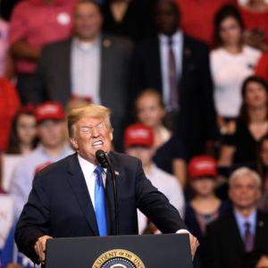 WILKES BARRE, PA - AUGUST 02: President Donald J. Trump speaks to a large crowd gathered to see him on August 2, 2018 at the Mohegan Sun Arena at Casey Plaza in Wilkes Barre, Pennsylvania. This is Trump's second rally this week; the same week his former campaign chairman Paul Manafort started his trial that stemmed from special counsel Robert Mueller's investigation into Russia's alleged interference in the 2016 presidential election.  (Photo by Rick Loomis/Getty Images)