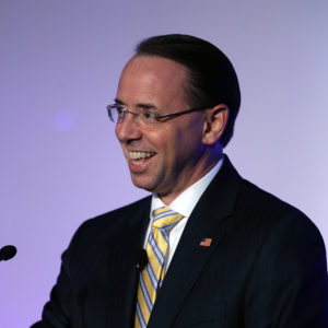 United States Deputy Attorney General Rod J. Rosenstein speaks at the ABA conference at the Hyatt Regency Chicago on Thursday, Aug. 2, 2018. (Terrence Antonio James/Chicago Tribune/TNS)