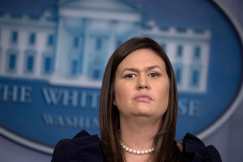 WASHINGTON, DC - AUGUST 22:  White House Press Secretary Sarah Huckabee Sanders conducts a news conference in the Brady Press Briefing Room at the White House August 22, 2018 in Washington, DC. On Tuesday President Donald Trump's former lawyer and fixer Michael Cohen addmitted in court that Mr. Trump directed him to break campaign finance laws by paying off two women who said they had sexual relationships with Mr. Trump at the same time that TrumpÕs former campaign chairman Paul Manafort was found guilty of eight counts of tax and bank fraud.  (Photo by Chip Somodevilla/Getty Images) *** Local Caption *** Sarah Huckabee Sanders