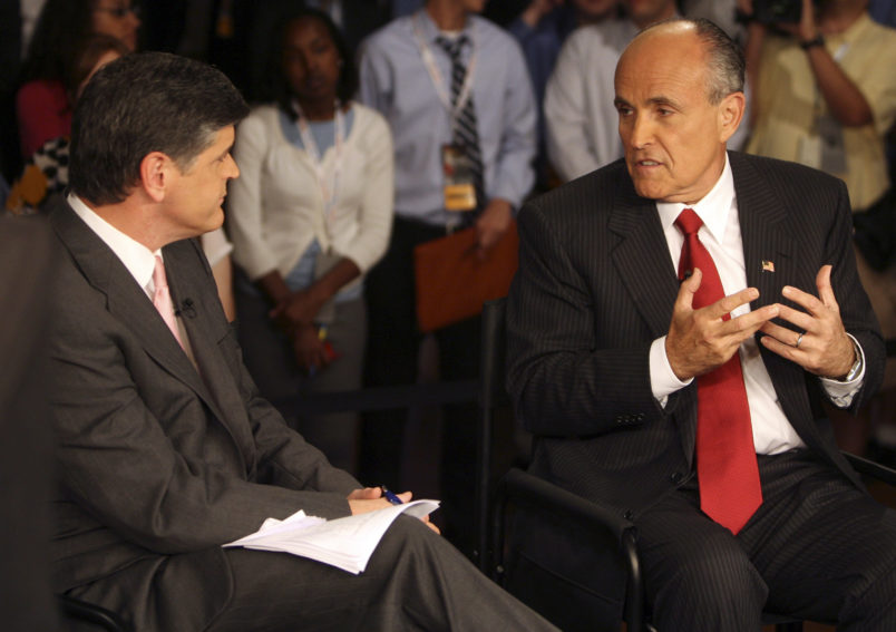 Presidential candidate Rudy Giuliani, right, is interviewed by Fox's Sean Hannity in the Spin Room following the 2007 Republican Presidential Debate in Columbia, South Carolina, Tuesday, May 15, 2007. (C. Aluka Berry/The State/MCT)