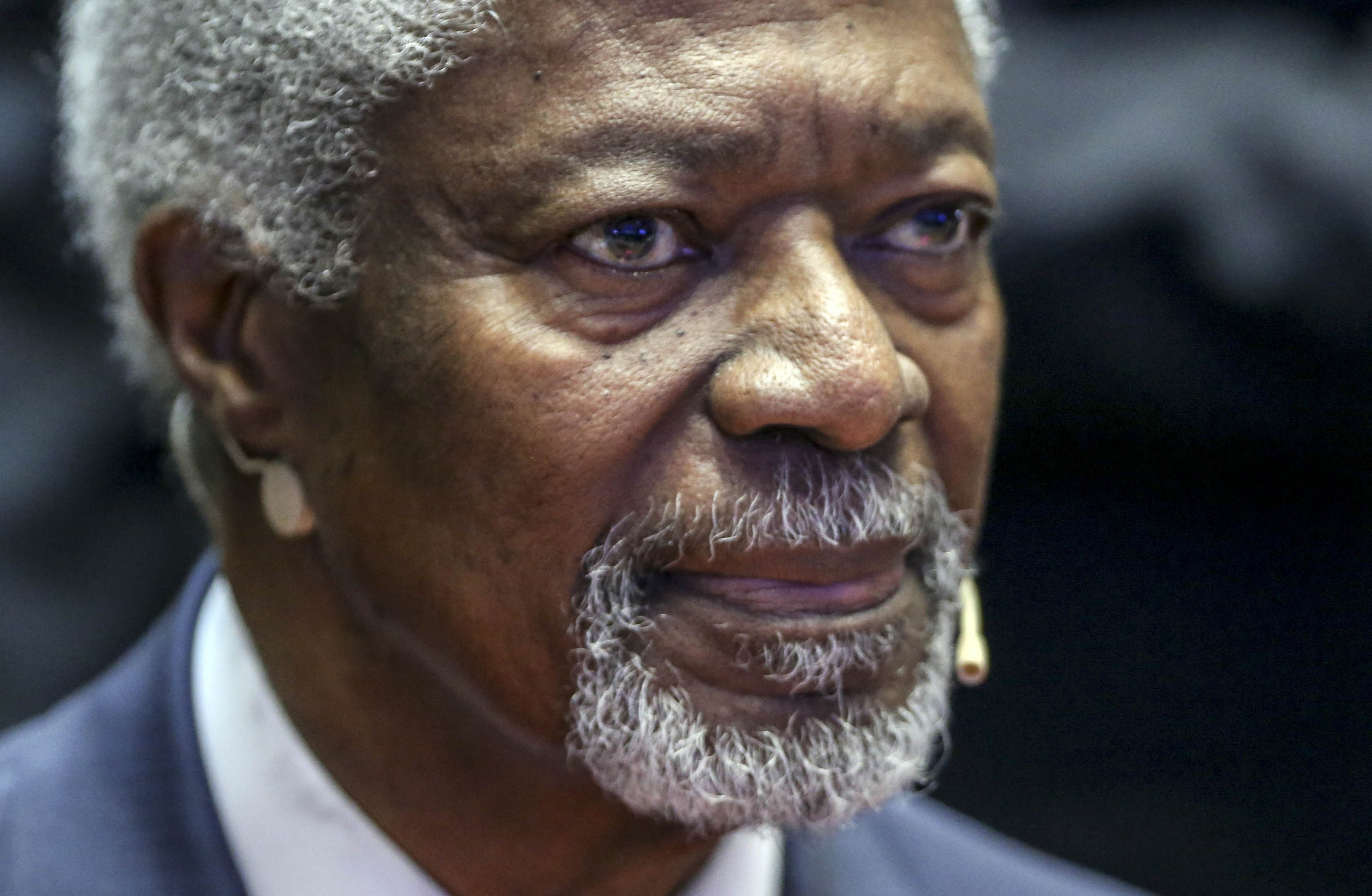 BEIJING, CHINA - NOVEMBER 25: (CHINA OUT) Kofi Annan, 7th Secretary-General of the United Nations, attends the Social Entrepreneurs Forum 2015 at Beijing Yanqi Lake International Convention & Exhibition Center on November 25, 2015 in Beijing, China. Over 5,000 entrepreneurs attend the Social Entrepreneurs Forum 2015 held from Nov 25 to 27 in Beijing. (Photo by ChinaFotoPress)***_***