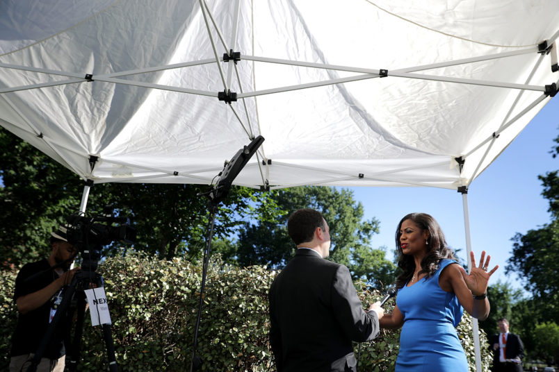 July 25, 2017 in Washington, DC. Conservative media outlets were invited to set up temporary studios on the north side of the West Wing so to interview White House officials and members of President Donald Trump's cabinet.
