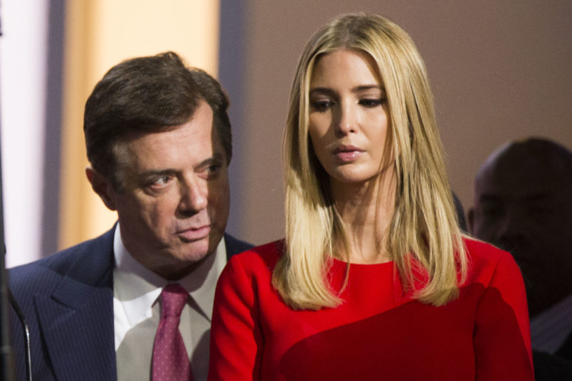 CLEVELAND, OH - JULY 21:  Paul Manafort speaks to Ivanka Trump,  daughter of Republican nominee Donald Trump at the Republican Convention, July 20, 2016 at the Quicken Loans Arena in Cleveland, Ohio. (Photo by Brooks Kraft/ Getty Images)