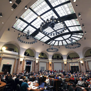 "FRANKFORT, KY-APRIL 13: The House Chamber at the Kentucky State Capitol is shown as the legislature tries to wrap up its session by tomorrow April 13, 2018 in Frankfort, Kentucky. Kentucky Public school teachers rallied for a ""day of action"" at the Kentucky State Capitol to try to pressure legislators to override Kentucky Governor Matt Bevin's recent veto of the state's tax and budget bills The teachers also oppose a controversial pension reform bill which Gov. Bevin signed into law. (Photo by Bill Pugliano/Getty Images)"