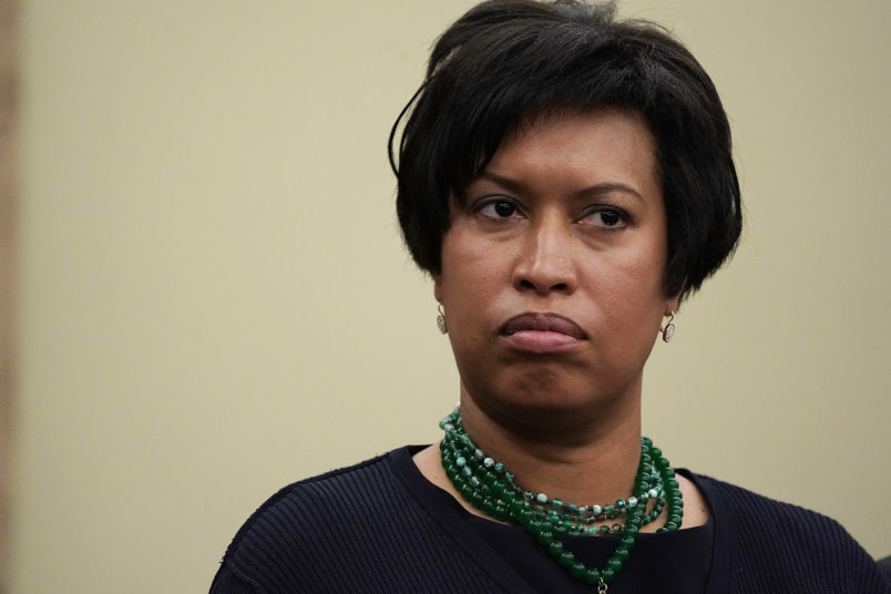"""WASHINGTON, DC - MAY 02:  Washington, D.C., Mayor Muriel Bowser attends a news conference May 2, 2018 on Capitol Hill in Washington, DC. Del. Holmes Norton held a news conference to discuss """"efforts to protect D.C.'s local laws during the FY2019 appropriations process, including gun safety, anti-discrimination, labor, marijuana and abortion.Ó  (Photo by Alex Wong/Getty Images)"""