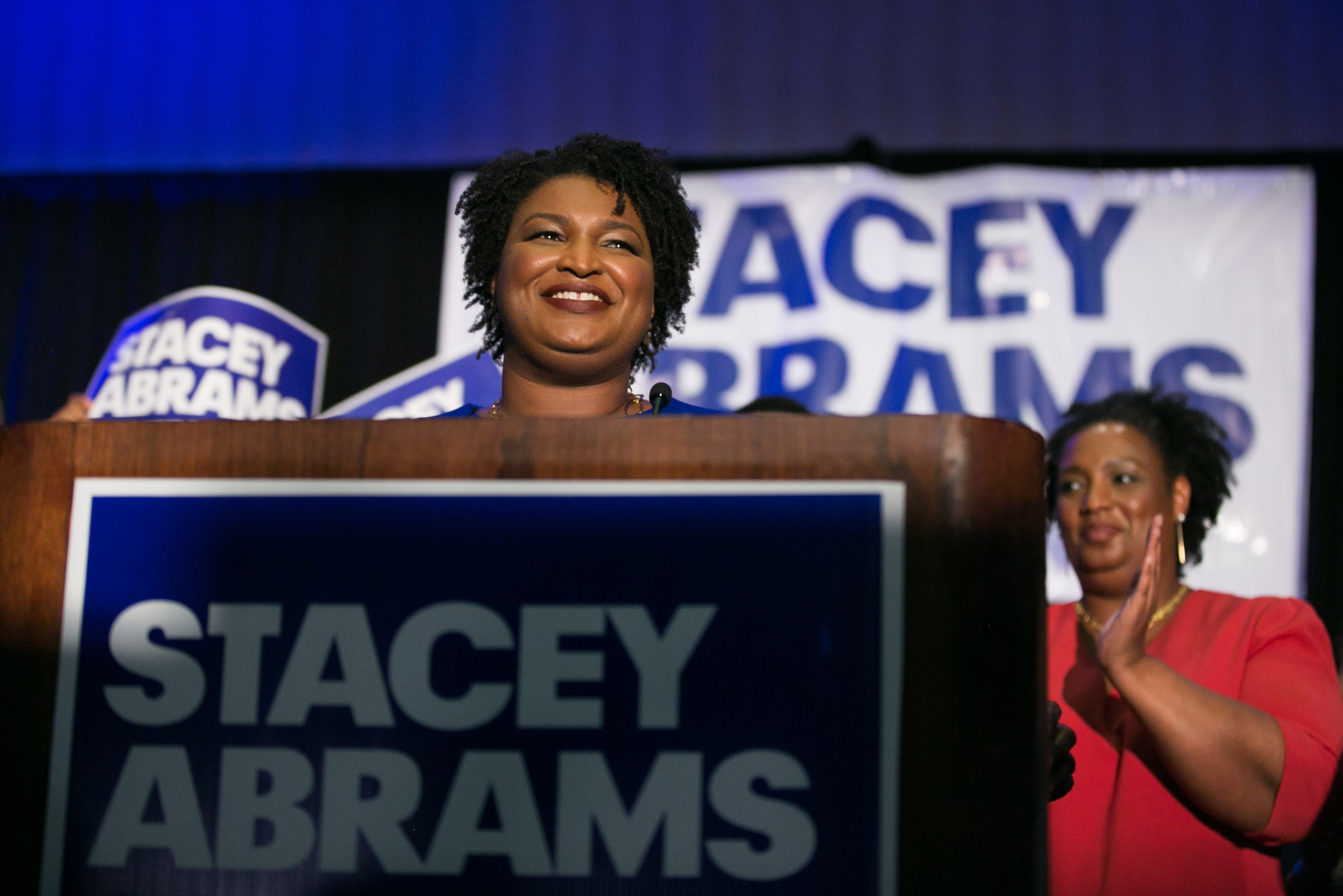 ATLANTA, GA - MAY 22:  Georgia Democratic Gubernatorial candidate Stacey Abrams takes the stage to declare victory in the primary during an election night event on May 22, 2018 in Atlanta, Georgia.  If elected, Abrams would become the first African American female governor in the nation.  (Photo by Jessica McGowan/Getty Images)