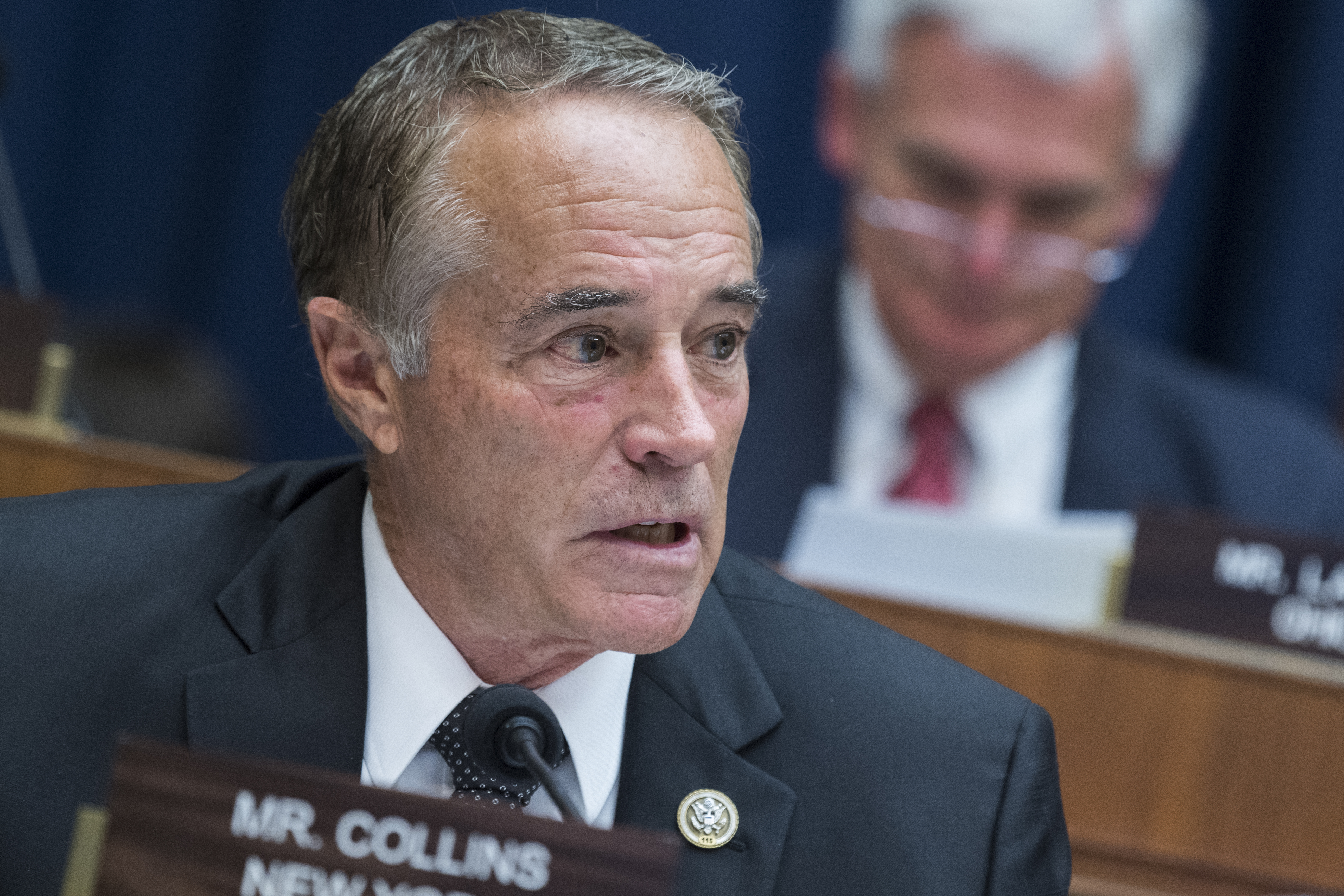 UNITED STATES - JUNE 13: Rep. Chris Collins, R-N.Y., attends a House Energy and Commerce Communications and Technology Subcommittee markup in Rayburn Building on June 13, 2018. (Photo By Tom Williams/CQ Roll Call)