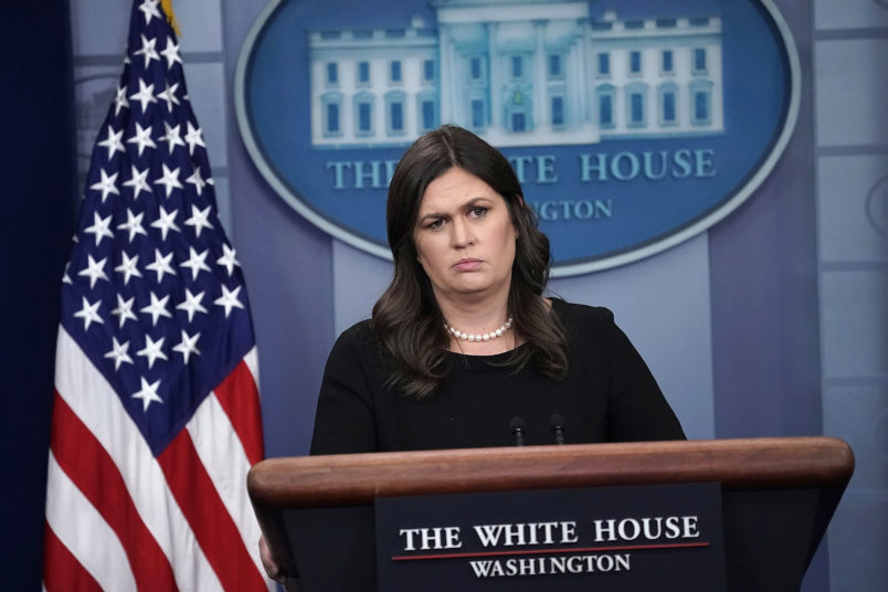 WASHINGTON, DC - JUNE 14:  White House Press Secretary Sarah Sanders conducts a White House daily news briefing at the James Brady Press Briefing Room of the White House June 14, 2018 in Washington, DC.  (Photo by Alex Wong/Getty Images)