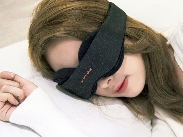 The Manta Sleep Mask & Blackout Stickers blocks out 100% of blue light for a satisfying night's sleep.