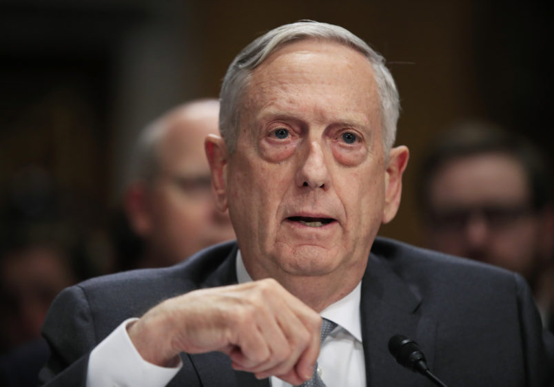 """Secretary of Defense Jim Mattis, testifies during a Senate Foreign Relations Committee hearing on """"The Authorizations for the Use of Military Force: Administration Perspective"""" on Capitol Hiill in Washington, Monday, Oct. 30, 2017.  (AP Photo/Manuel Balce Ceneta)"""