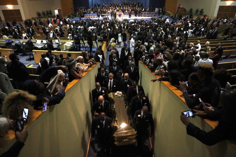 Pallbearers carry the casket out of Greater Grace Temple at the end of the funeral for Aretha Franklin, Friday, Aug. 31, 2018, in Detroit. Franklin died Aug. 16, 2018 of pancreatic cancer at the age of 76. (AP Photo/Jeff Roberson)