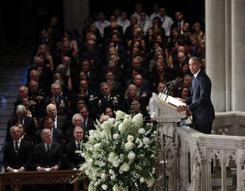 at a memorial services for Sen. John McCain, R-Ariz., at Washington Nationals Cathedral in Washington, Saturday, Sept. 1, 2018. McCain died Aug. 25, from brain cancer at age 81. (AP Photo/Pablo Martinez Monsivais)