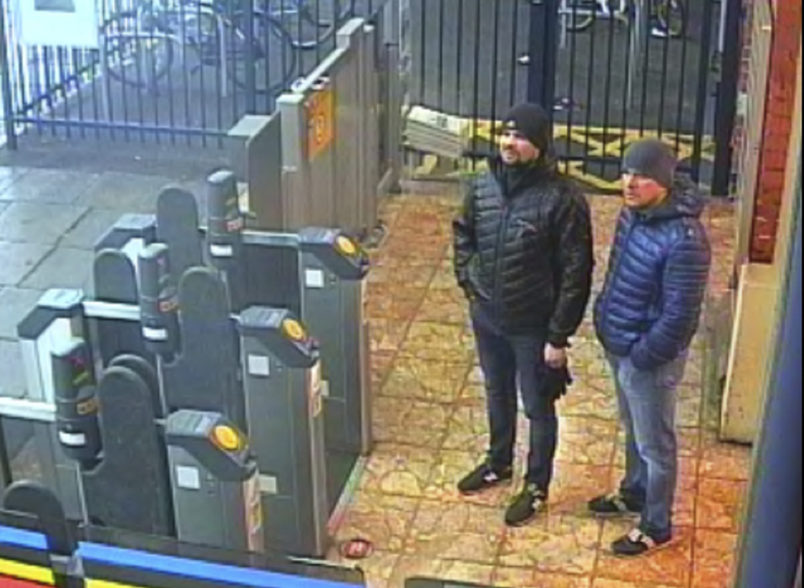 and Handout CCTV image issued by the Metropolitan Police of Russian Nationals Ruslan Boshirov and Alexander Petrov at Salisbury train station at 16:11hrs on March 3 2018. The CPS has issued European Arrest Warrants for the extradition of Boshirov and Petrov in connection with the Novichok poisoning attack on Sergei Skripal and his daughter Yulia in March. PRESS ASSOCIATION Photo. Issue date: Wednesday September 5, 2018. See PA story POLICE Salisbury. Photo credit should read: Metropolitan Police/PA WirNOTE TO EDITORS: This handout photo may only be used in for editorial reporting purposes for the contemporaneous illustration of events, things or the people in the image or facts mentioned in the caption. Reuse of the picture may require further permission from the copyright holder.