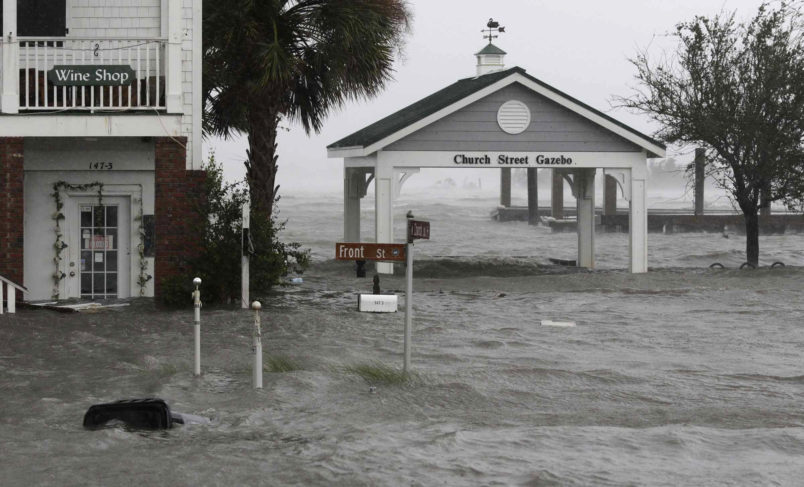 High winds and water as Hurricane Florence hit Front Street in downtown Swansboro N.C.,Friday, Sept. 14, 2018.  (AP Photo/Tom Copeland)