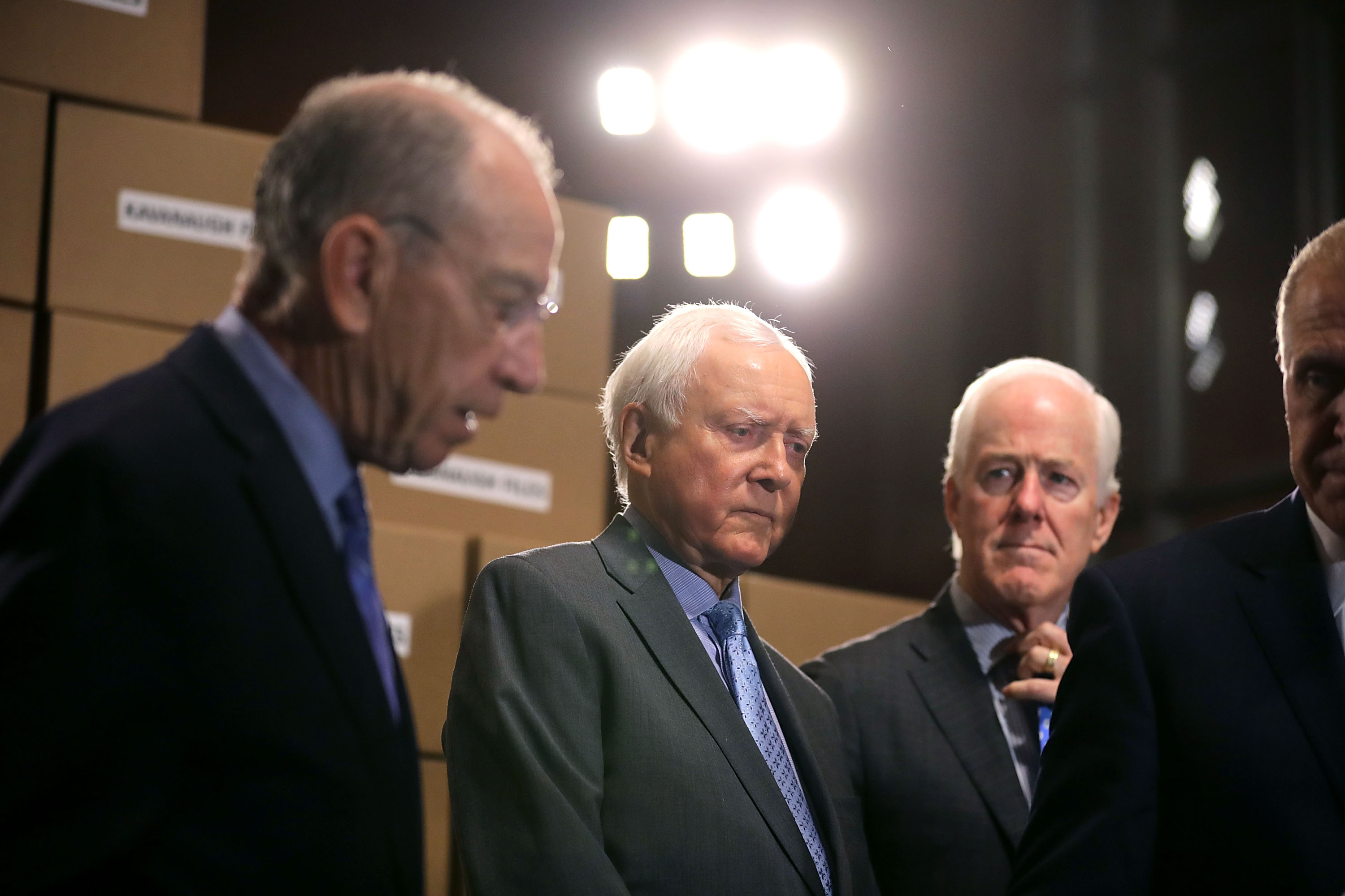 Republican members of the Senate Judiciary Committee, including Chairman Charles Grassley (R-IA), Sen. John Cornyn (R-TX), Sen. Mike Lee (R-UT), Sen. Orrin Hatch (R-UT), Sen. Thom Tillis (R-NC) hold a news conference about Supreme Court nominee Judge Brett Kavanaugh in the Dirksen Senate Office Building on Capitol Hill August 2, 2018 in Washington, DC. Republicans on the committee claim that Senate Democrats are attempting to slow or stall Kavanaugh's confirmation with demands to see emails and other records relating to KavanaughÕs time as staff secretary to former President George W. Bush.