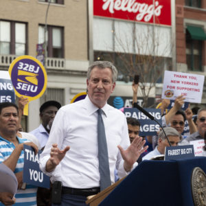 UNION SQUARE, NEW YORK, UNITED STATES - 2018/08/09: NYC Mayor Bill de Blasio speaks at rally celebrating the passage of for-hire vehicle legislation on Union Square. (Photo by Lev Radin/Pacific Press/LightRocket via Getty Images)