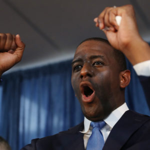 Andrew Gillum the Democratic candidate for Florida Governor speaks during a campaign rally at the International Union of Painters and Allied Trades on August 31, 2018 in Orlando, Florida. Mr. Gillum is facing off against his Republican challenger Rep. Ron DeSantis (R-FL) in the November 6th election.