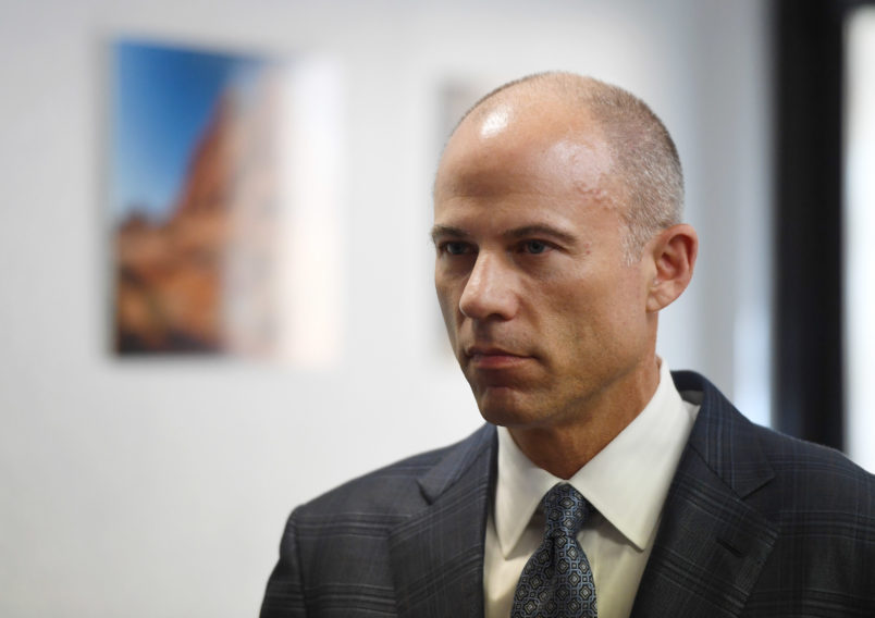 Attorney Michael Avenatti speaks during a news conference with Battle Born Progress, a progressive communications organization, on August 31, 2018 in Las Vegas, Nevada. Avenatti is representing adult film actress/director Stormy Daniels in her cases against U.S. President Donald Trump and his former attorney Michael Cohen.
