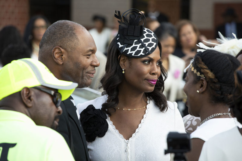 DETROIT, MI - AUGUST 31: Reality TV star Amorosa speaks with people after attending soul music icon Aretha Franklin's funeral at Greater Grace Temple  August 31, 2018 in Detroit, Michigan. Dozens of musicians and dignitaries either spoke or performed at the singer's funeral, including former President Bill Clinton, Stevie Wonder, Faith Hill, Ariana Grande, Chaka Khan, Smokey Robinson, Jennifer Hudson, and Cicely Tyson. (Photo by Bill Pugliano/Getty Images)