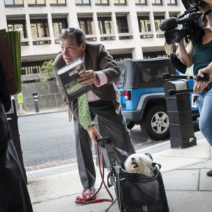 WASHINGTON, DC - SEPTEMBER 7: Randy Credico and his dog Bianca arrive at U.S. District Court, September 7, 2018 in Washington, DC. Credico, a comedian with ties to Roger Stone, was subpoenaed by special counsel Robert Mueller and will testify before the grand jury on Friday. (Photo by Drew Angerer/Getty Images)
