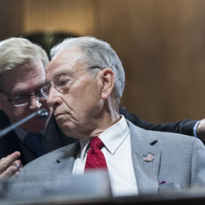 UNITED STATES - SEPTEMBER 13: Chairman Charles Grassley, R-Iowa, conducts a markup of the Senate Judiciary Committee in Dirksen Building on September 13, 2018, where Republicans voted to move the committee vote on Supreme Court nominee Brett Kavanaugh to September 20th. (Photo By Tom Williams/CQ Roll Call)