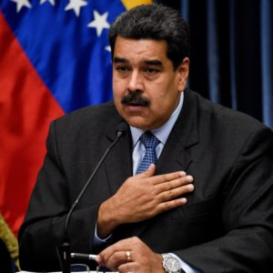 Venezuelan President Nicolas Maduro gives a press conference to the international media following his recent trip to China, at Miraflores Presidential Palace in Caracas, on September 18, 2018. (Photo by Federico PARRA / AFP)        (Photo credit should read FEDERICO PARRA/AFP/Getty Images)