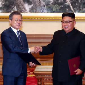 on September 19, 2018 in Pyongyang, North Korea.