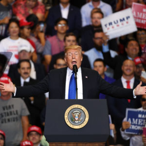 U.S. President Donald Trump speaks during a campaign rally at the Las Vegas Convention Center on September 20, 2018 in Las Vegas, Nevada. Trump is in town to support the re-election campaign for U.S. Sen. Dean Heller (R-NV) as well as Nevada Attorney General and Republican gubernatorial candidate Adam Laxalt and candidate for Nevada's 3rd House District Danny Tarkanian and 4th House District Cresent Hardy.