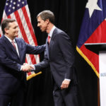 Sen. Ted Cruz (R-TX) and Rep. Beto O'Rourke (D-TX) shake hands after a debate at McFarlin Auditorium at SMU in Dallas, on  Friday, September 21, 2018. (Tom Fox/The Dallas Morning News/Pool)