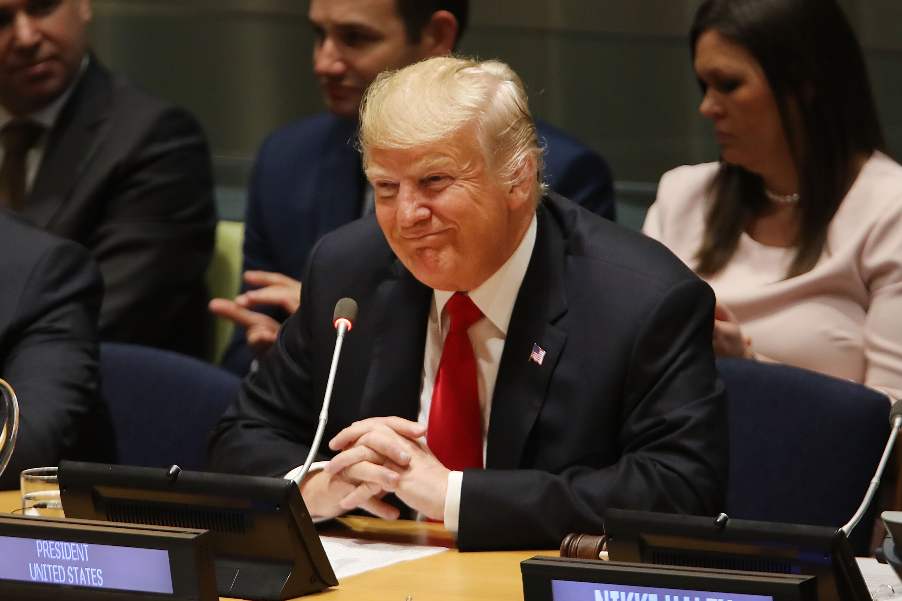 NEW YORK, NY - SEPTEMBER 24:  U.S. President Donald Trump attends a meeting on the global drug problem at the United Nations (UN) with UN Ambassador Nikki Haley a day ahead of the official opening of the 73rd United Nations General Assembly on September 24, 2018 in New York City. The United Nations General Assembly, or UNGA, is expected to draw 84 heads of state and 44 heads of government in New York City for a week of speeches, talks and high level diplomacy concerning global issues. New York City is under tight security for the annual event with dozens of road closures and thousands of security officers patrolling city streets and waterways.  (Photo by Spencer Platt/Getty Images)