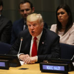 NEW YORK, NY - SEPTEMBER 24:  President Donald Trump attends a meeting on the global drug problem at the United Nations (UN) a day ahead of the official opening of the 73rd United Nations General Assembly on September 24, 2018 in New York City. The UN General Assembly, or UNGA, is expected to draw 84 heads of state and 44 heads of government in New York City for a week of speeches, talks and high level diplomacy concerning global issues. New York City is under tight security for the annual event with dozens of road closures and thousands of security officers patrolling city streets and waterways.  (Photo by Spencer Platt/Getty Images)