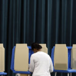 A voter during early morning voting at the Hilburn Drive Academy polling place in Raleigh, North Carolina, Tuesday, May 8, 2012. (Shawn Rocco/Raleigh News & Observer/MCT)