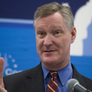 UNITED STATES - FEBRUARY 01: Rep. Steve Stivers, R-Ohio, conducts a news conference at the media center during the House and Senate Republican retreat at The Greenbrier resort in White Sulphur Springs, W.Va., on February 1, 2018. (Photo By Tom Williams/CQ Roll Call)