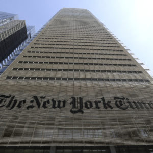 NEW YORK, NY - APRIL 13: The facade and logo of the New York Times newspaper is pictured on April 13, 2018 in New York City. (Photo by Gary Hershorn/Getty Images)