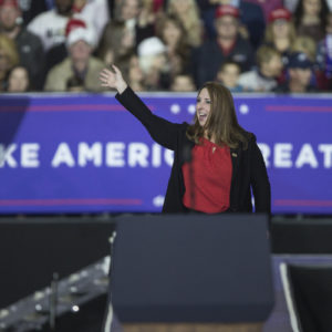 RNC chair Ronna Romney McDaniel waves to the crowd during a Make America Great Again rally at Total Sports Park in Washington Township, Mich., on Saturday, April 28, 2018. (Junfu Han/Detroit Free Press/TNS)