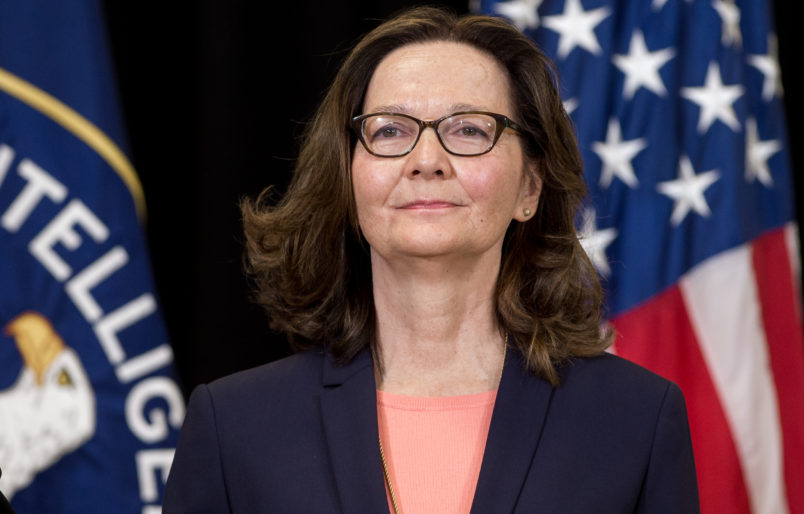 Gina Haspel, Director of the Central Intelligence Agency, stands after being sworn-in during a ceremony at CIA Headquarters in Langley, Virginia, May 21, 2018. (Photo by SAUL LOEB / AFP)        (Photo credit should read SAUL LOEB/AFP/Getty Images)
