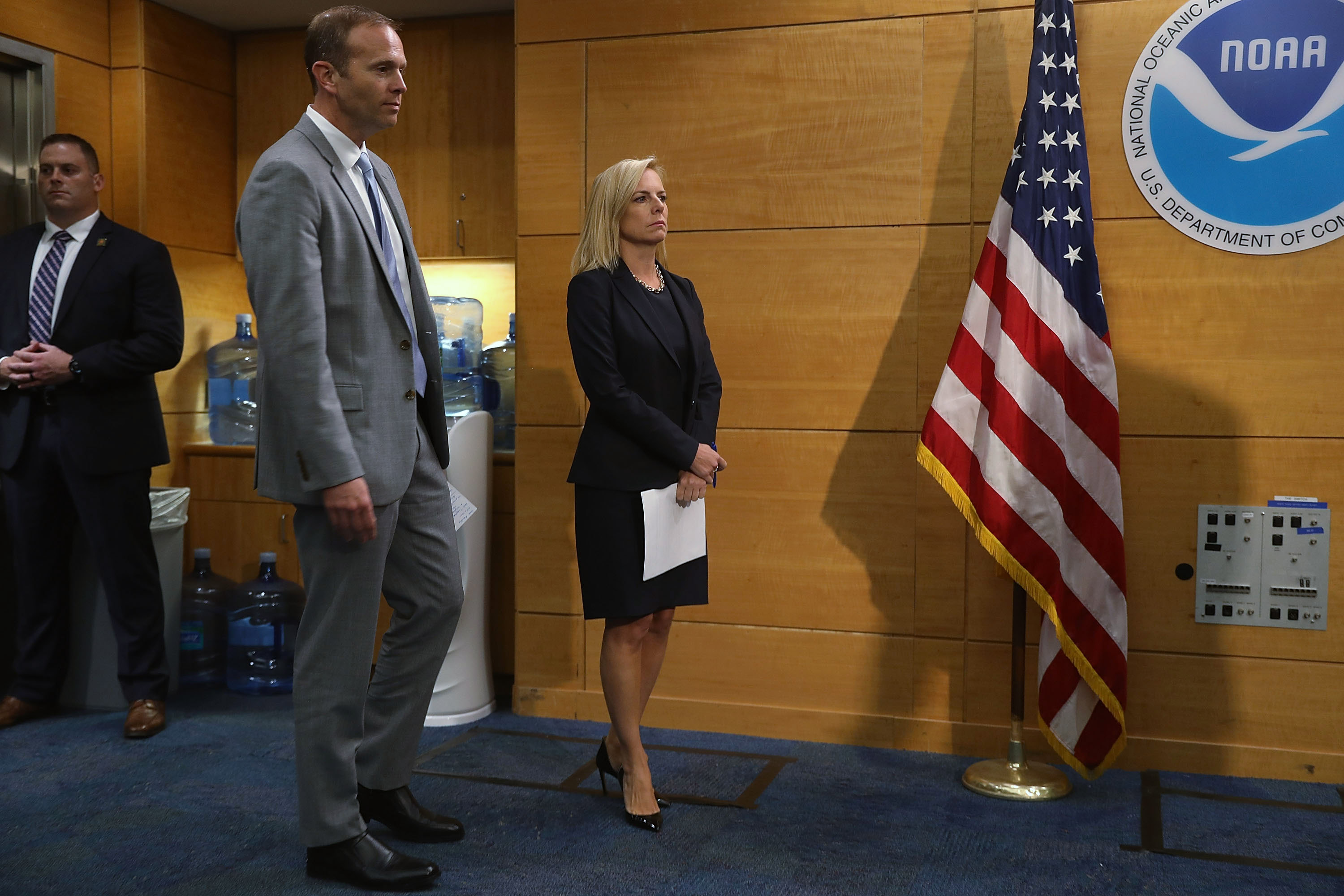 MIAMI, FL - MAY 30:  Kirstjen Nielsen (R), the U.S. Homeland Security Secretary, and Brock Long, FEMA's director, visit the National Hurricane Center on May 30, 2018 in Miami, Florida. The two visited the center as they urged people to prepare for the upcoming hurricane season that officially begins on June 1, 2018 and ends on November 30th.  (Photo by Joe Raedle/Getty Images)