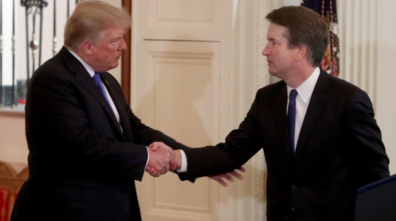 WASHINGTON, DC - JULY 09: U.S. President Donald Trump introduces U.S. Circuit Judge Brett M. Kavanaugh as his nominee to the United States Supreme Court during an event in the East Room of the White House July 9, 2018 in Washington, DC. Pending confirmation by the U.S. Senate, Judge Kavanaugh would succeed Associate Justice Anthony Kennedy, 81, who is retiring after 30 years of service on the high court. (Photo by Mark Wilson/Getty Images)
