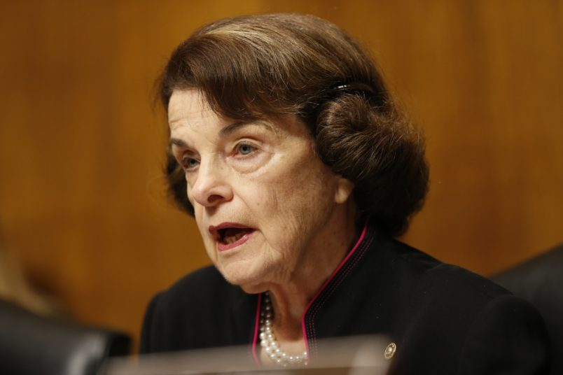 WASHINGTON, DC - SEPTEMBER 27:  Senator Dianna Feinstein (D-CA) Speak at the Senate Judiciary Committee hearing on the nomination of Brett Kavanaugh to be an associate justice of the Supreme Court of the United States, on Capitol Hill September 27, 2018 in Washington, DC. A professor at Palo Alto University and a research psychologist at the Stanford University School of Medicine, Ford has accused Supreme Court nominee Judge Brett Kavanaugh of sexually assaulting her during a party in 1982 when they were high school students in suburban Maryland. (Photo By Michael Reynolds-Pool/Getty Images)