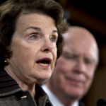 Sen. Diane Feinstein (D-CA) and Sen. Patrick Leahy, (D-VT) speak at a press conference on Capitol Hill on the appointment of a special prosecutor Monday, September 29, 2008, to pursue possible criminal charges against Republicans who were involved in the controversial firings of U.S. attorneys. (Chuck Kennedy/MCT)