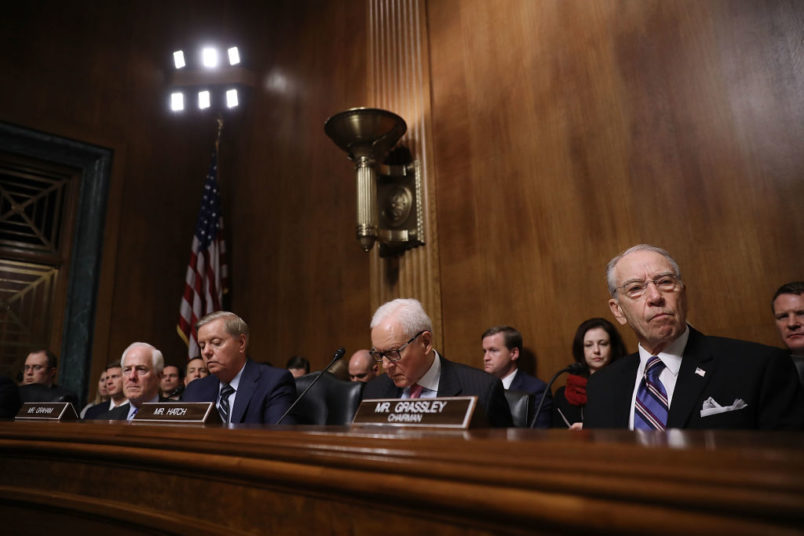 WASHINGTON, DC - SEPTEMBER 27:  Senate Judiciary Committee members (L-R) Sen. John Cornyn (R-TX), Sen. Lindsey Graham (R-SC), Sen. Orrin Hatch (R-UT) and Chairman Charles Grassley listens to testimony from Christine Blasey Ford in the Dirksen Senate Office Building on Capitol Hill September 27, 2018 in Washington, DC. A professor at Palo Alto University and a research psychologist at the Stanford University School of Medicine, Ford has accused Supreme Court nominee Judge Brett Kavanaugh of sexually assaulting her during a party in 1982 when they were high school students in suburban Maryland.  (Photo by Win McNamee/Getty Images)
