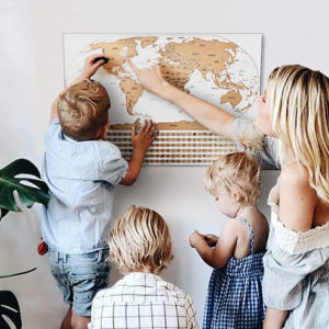 The World Travel Tracker Scratch Off Maps tallies your trips and your state park visits with scratch-off, multi-colored countries and parks.