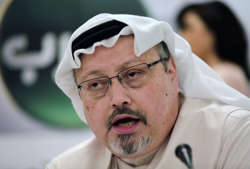 FILE - In this Feb. 1, 2015, file photo, Saudi journalist Jamal Khashoggi speaks during a press conference in Manama, Bahrain. The Washington Post said Wednesday, Oct. 3, 2018, it was concerned for the safety of Khashoggi, a columnist for the newspaper, after he apparently went missing after going to the Saudi Consulate in Istanbul. (AP Photo/Hasan Jamali, File)