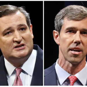 This combination of Sept. 21, 2018, file photos show Republican U.S. Senator Ted Cruz, left, and Democratic U.S. Representative Beto O'Rourke, right, during their first Senate debate in Dallas. O'Rourke says there's still work to do after being asked about Hispanic outreach in his race against Cruz. O'Rourke needs a broad electorate in November to have a chance at pulling off one of the biggest upsets of the 2018 midterms. His path to victory includes getting more Latinos to the polls, which Texas Democrats have struggled to do for decades. (Tom Fox/The Dallas Morning News via AP, Pool, File)