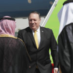U.S. Secretary of State Mike Pompeo greets Saudi Foreign Minister Adel al-Jubeir after arriving in Riyadh, Saudi Arabia, October 16, 2018. REUTERS/Leah Millis/Pool